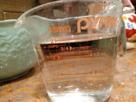 Soap Jellies - measuring cup of water