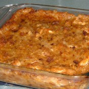 The baked chicken and dressing casserole.
