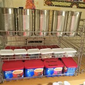 A can organizer being used for craft supplies.