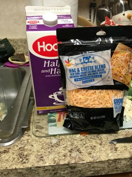 Ingredients for broccoli cauliflower cheese soup.