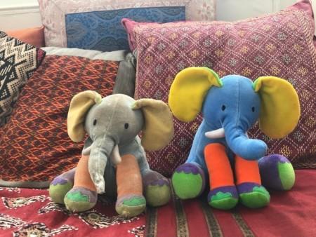 Two elephant stuffed animals.
