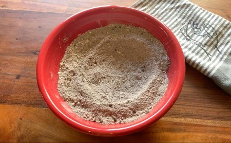 A bowl of the hot chocolate mixture.