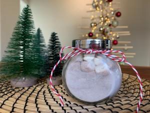 A jar of hot chocolate mix.