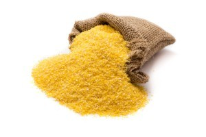 A sack of cornmeal on a white background.