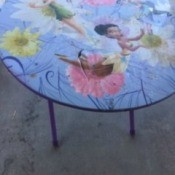 A painted table top.