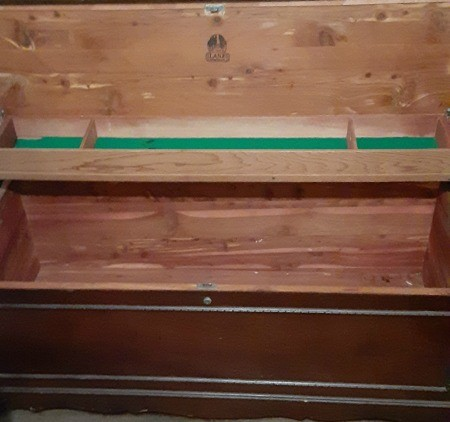 The inside of a hope chest.
