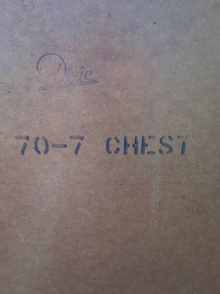 Markings on the back of a Dixie Chest of Drawers.