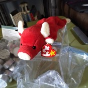 Value of a Rare Snort the Bull Beanie Baby? - red and white bull stuffed toy