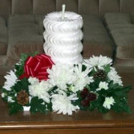 A decorative candle made from styrofoam.