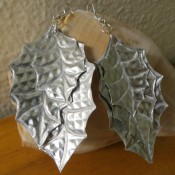 Aluminum Leaf Earrings - finished set on neutral background