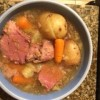 A completed pot of corned beef and cabbage.