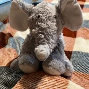 A stuffed elephant.