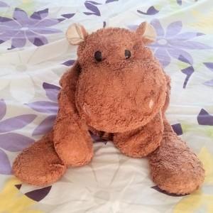 A stuffed brown hippo.