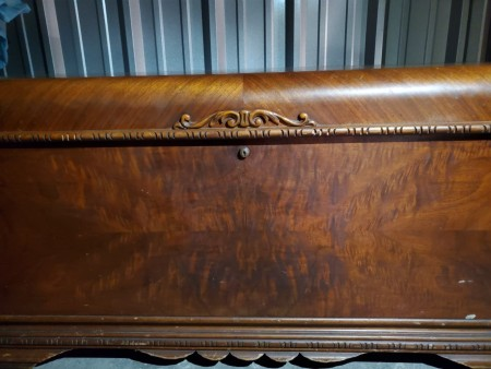 An old cedar chest. A close up of a cedar chest.