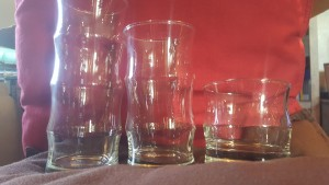 A collection of bamboo glasses.