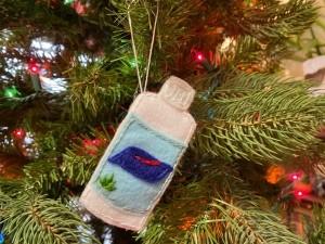 Felt Hand Sanitizer Ornament - bottle of hand sanitizer ornament