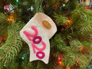 Felt Toilet Paper Ornament - unrolling TP ornament with 2020 in pink felt