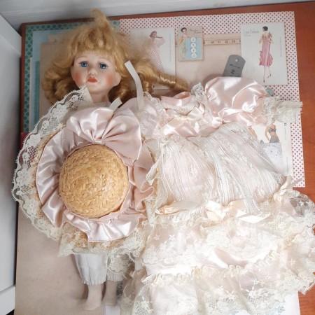 A vintage porcelain doll.