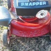 A vintage snapper push mower.