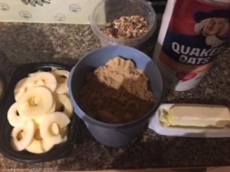 Ingredients for making Individual Apple Crisp