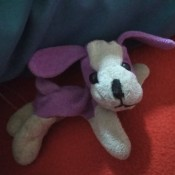 A small purple and white stuffed dog.