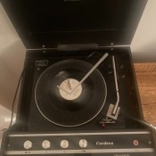 A vintage record player.