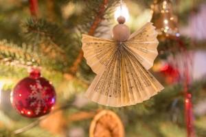A homemade angel ornament.