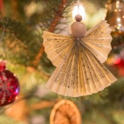 A homemade angel ornament.