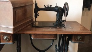 An old fashioned sewing machine.