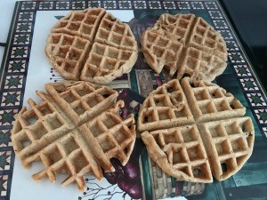 Several finished waffles.