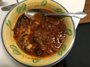A bowl of bean chili.