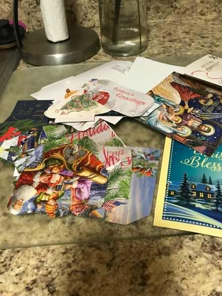 A pile of Christmas cards.