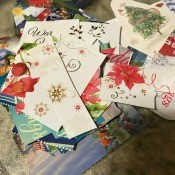 A pile of cut up Christmas cards