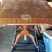 A wooden table.