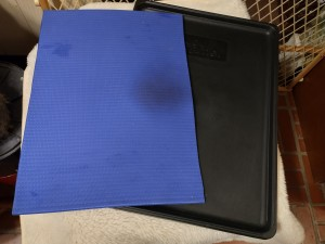 A yoga mat piece lining the inside of a dog crate.