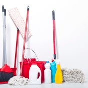 A collection of cleaning supplies.