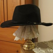 A hat on top of the DIY Hat Rack.