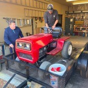 A red Daytona lawn tractor.