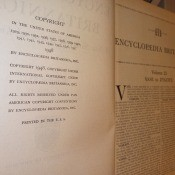 The copyright and first page of an Encyclopedia Britannica.