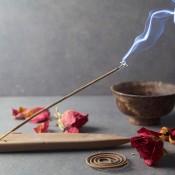 Incense burning next to rose petals.