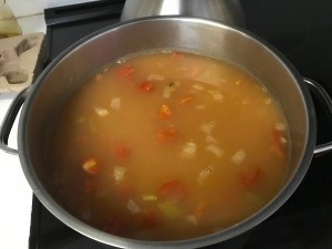 A pot of bean soup.