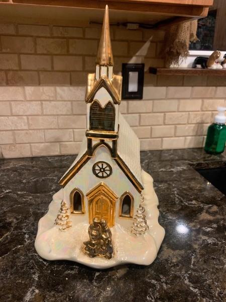 A decorative ceramic church.