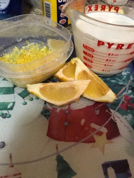 Lemon quarters and zest.