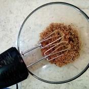 Brown sugar in a mixing bowl.