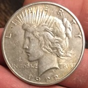 The front of an old dollar coin.