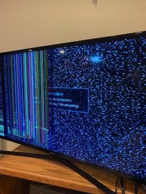 A damaged TV screen.