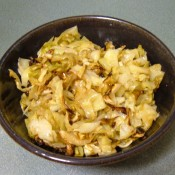A bowl of roasted cabbage.
