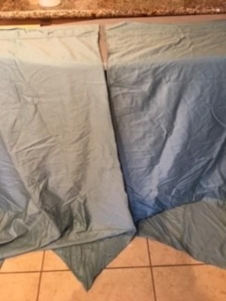 Bed Sheet Curtains - sheet cut in half