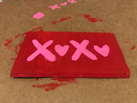 Cute Mini XOXO Wood Sign - message painted on in pink
