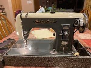 An old sewing machine.